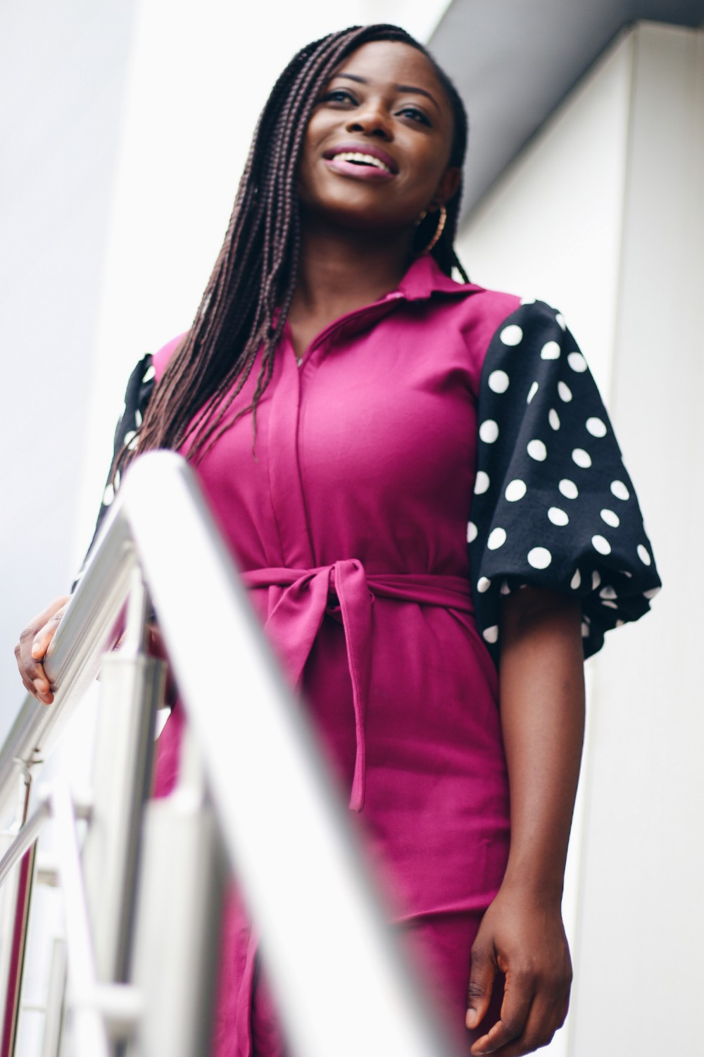 the polkadot dress with puff sleeves
