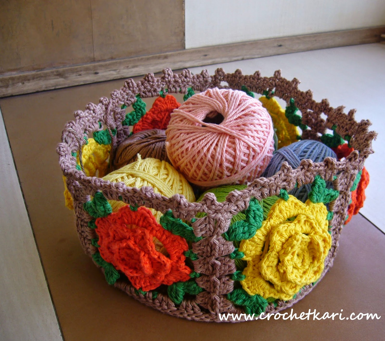 crochet rose basket pattern