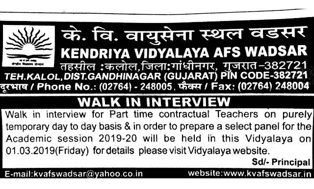Kendriya Vidyalaya ASF Wadsar Recruitment 2019