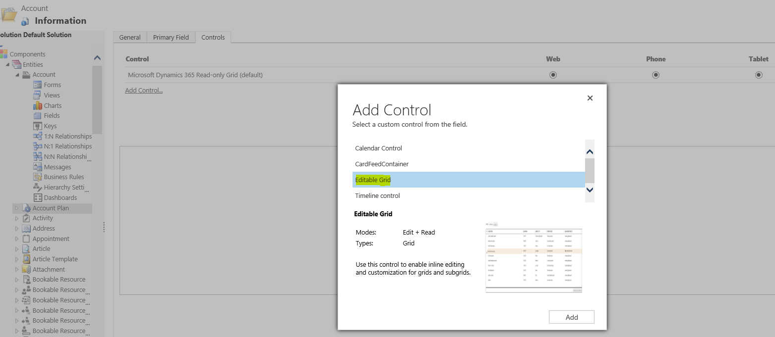Dynamics Customer Engagement: Configure Editable Grid in Dynamics 365