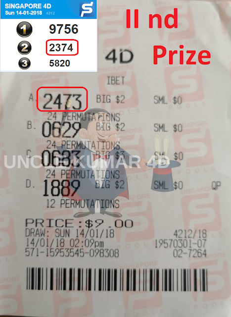 Uncle Kumar 4D Power Master wins SECOND PRIZE podium in Singapore 4D Lottery Singapore Pools SGP prize with forecast,winning tips