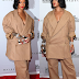 Braless Rihanna steps out in over-sized pant suit