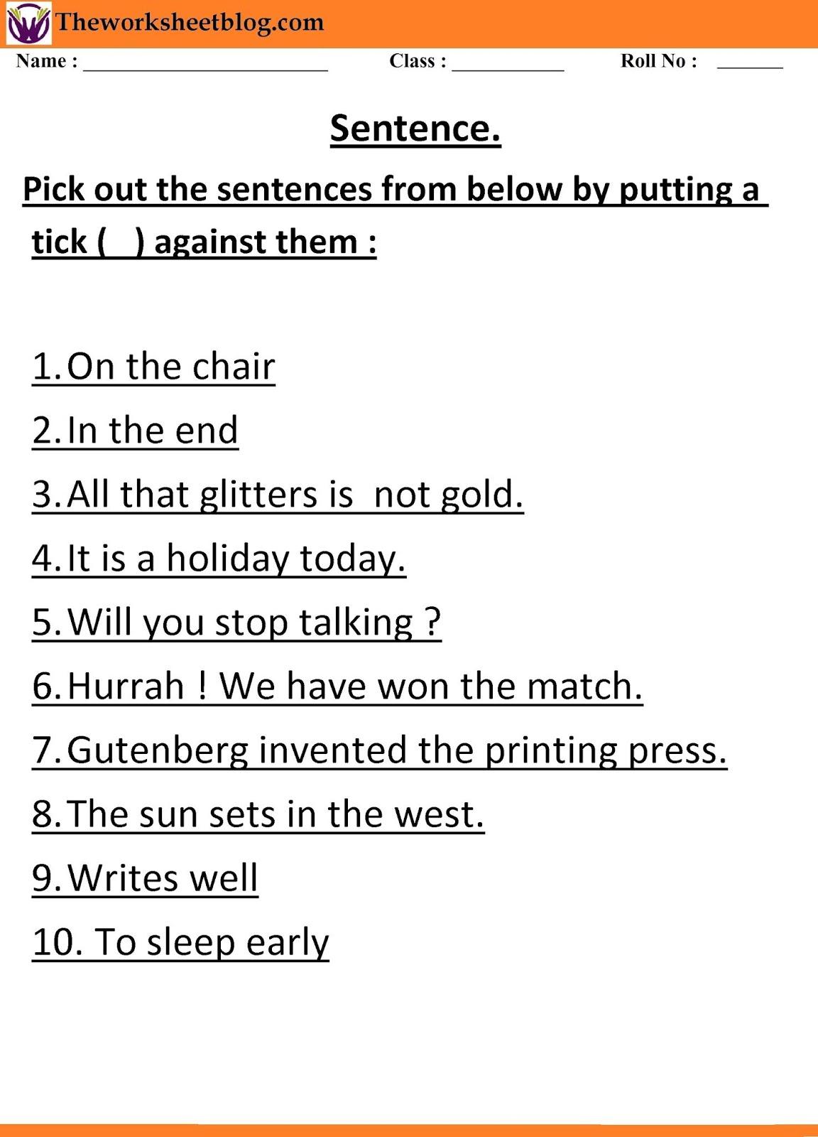 Sentence And Kind Of Sentences Worksheet