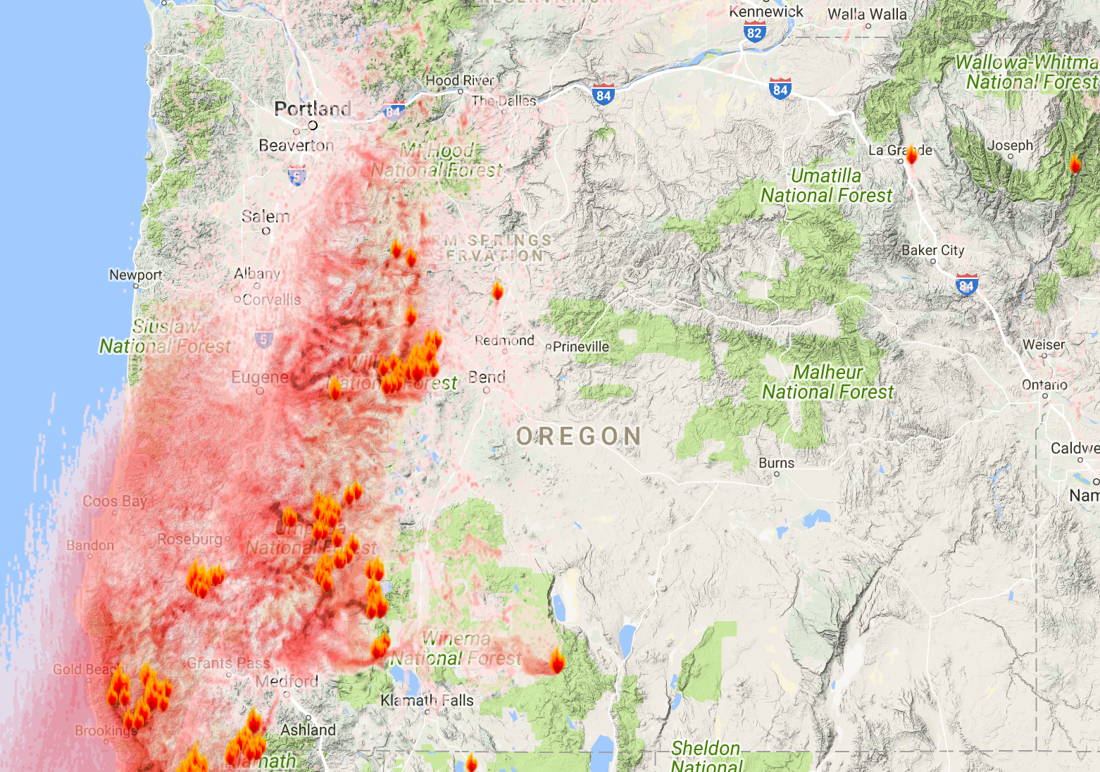 Oregon Smoke Information Oregon State Smoke Forecast For Sept - State map of oregon