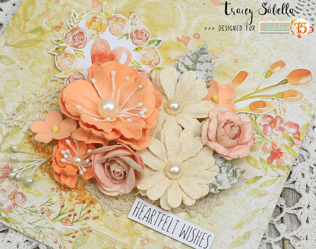 """Heartfelt Wishes"" Mixed Media Card by Tracey Sabella for Studio75: #traceysabella #studio75 #littlebirdiecrafts #acmoore #littlebirdiecraftsflowers #prills #finnabair #helmar #aallandcreate #lindysgang #lindysstampgang #mixedmedia #shabbychic #mixedmediaart #mixedmediacard #mixedmediacards #shabbychiccard #shabbychiccards #diycard #diycards #handcraftedcard #handcraftedcards #diycrafts  #handmadecard #handmadecards"