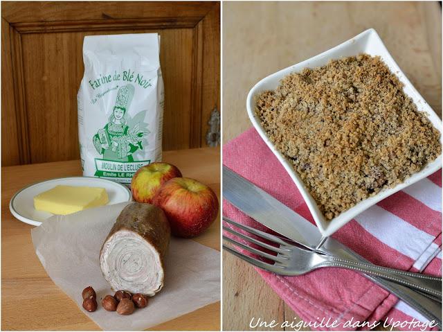 Andouille de Guémené et pommes, en crumble de blé noir et noisettes (sans gluten)