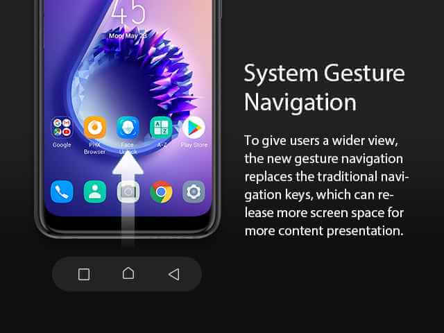 Android 9 Pie system navigation on the XOs 4 HoneyBee