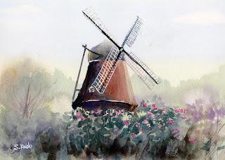 アンデルセン公園の風車 水彩スケッチ Windmill.  Watercolor sketch.