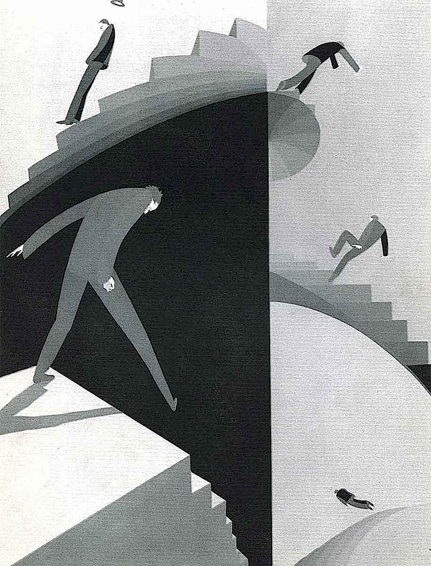 a 1931 John Vassos illustration of Climacophobia, a fear of stairs