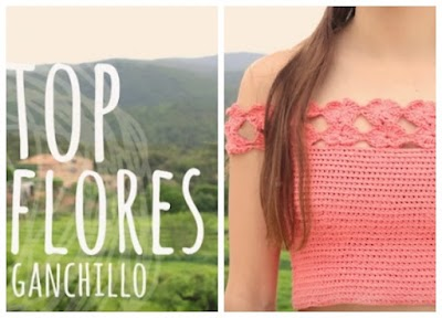 Top sin tirantes borde de flores crochet