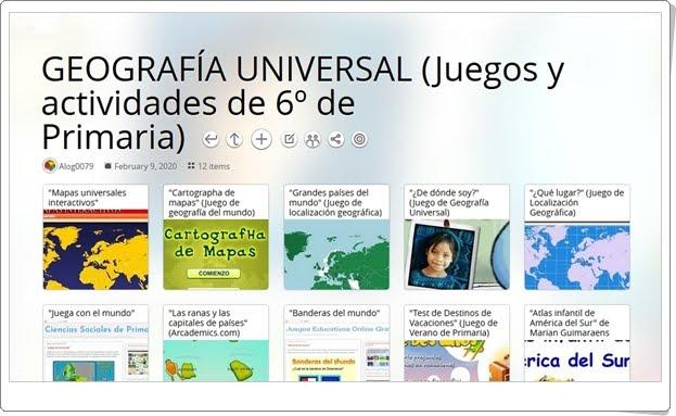 12 juegos y actividades para trabajar la GEOGRAFÍA UNIVERSAL en 6º de Primaria