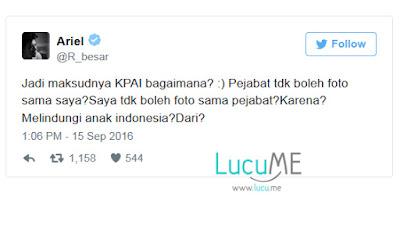 Tweet Ariel Pertanyakan KPI Soal Pelarangan Foto Dirinya Dengan Pejabat Ini Bikin Heboh