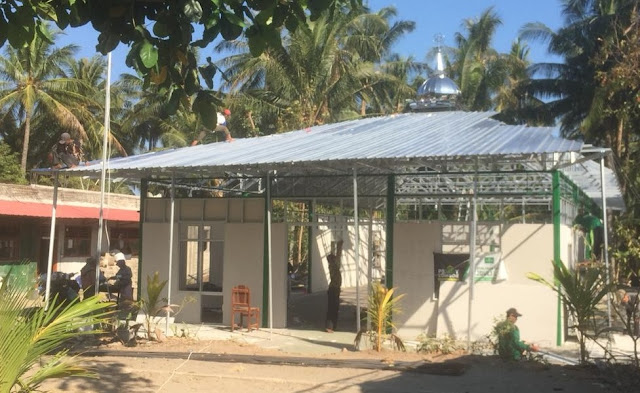 Alhamdulillah! Pembangunan Masjid Antigempa NU Jateng di Lombok Utara Hampir Usai
