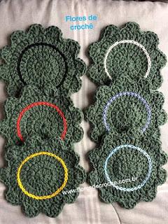 porta copos de croche conjunto com 6 flores de crochê
