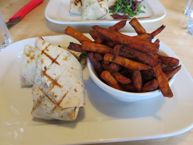 Chicken wrap and sweet potato fries at Camden Rotisserie
