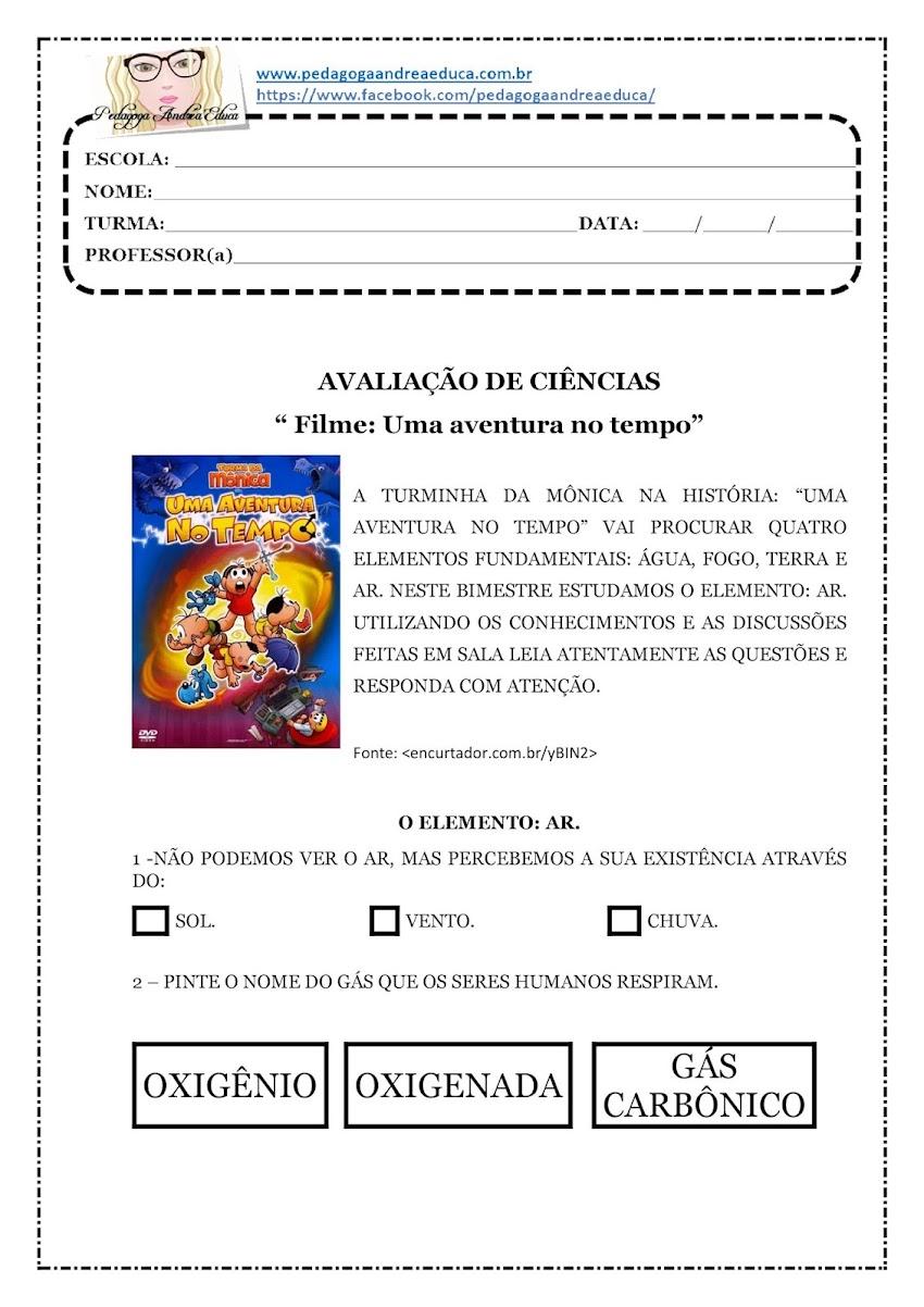 """AVALIAÇÃO DE CIÊNCIAS - FILME: """" UMA AVENTURA NO TEMPO"""" - ELEMENTO - AR"""