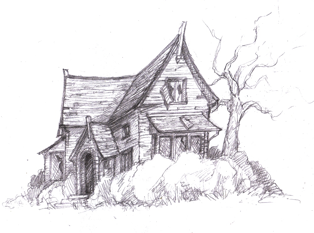 It is a graphic of Terrible Abandoned House Drawing