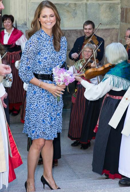 Princess Madeleine of Sweden attends Jarvsomassan a folk fair for musicians Hedvig Eleonora Church in Östermalm. Princess Madeleine wore Alice Temperley Leopard Print Dress