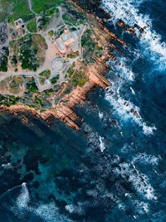 Vue aérienne d'une île