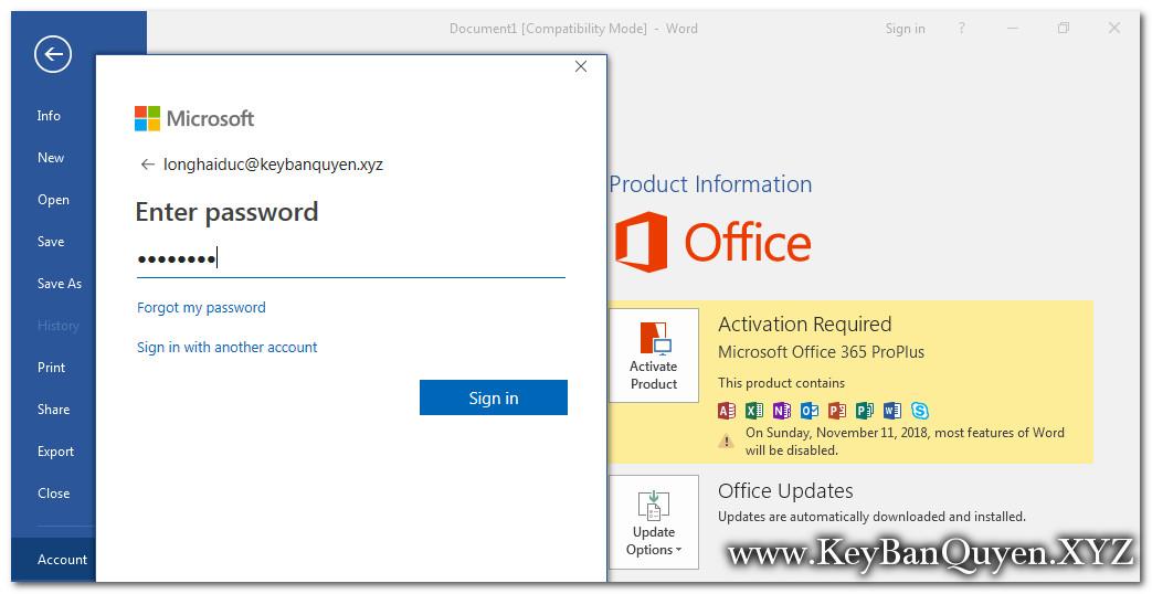 cài đặt Office 365 bản quyền