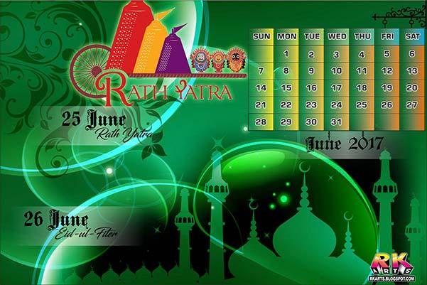Holiday Calendar June 2017
