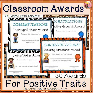 Classroom Awards-Animal-Print-theme-end of year