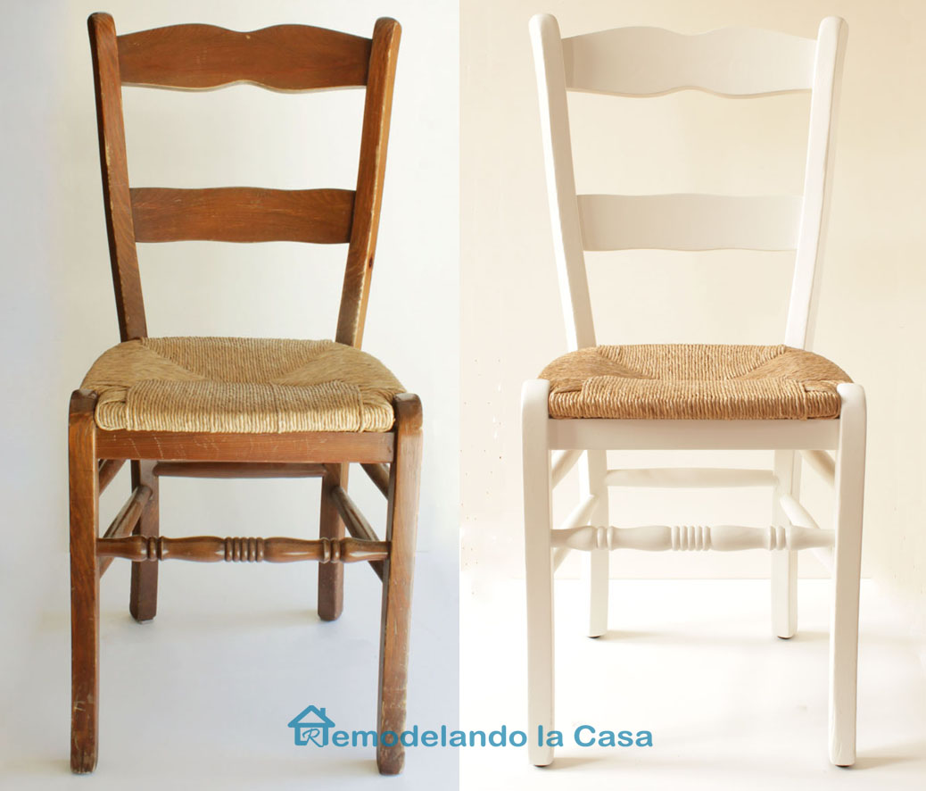 before and after rush chair makeover from natural to painted white.