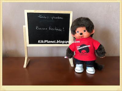 kiki monchhichi vintage miniature tableau noir école fait main handmade dolls accessories