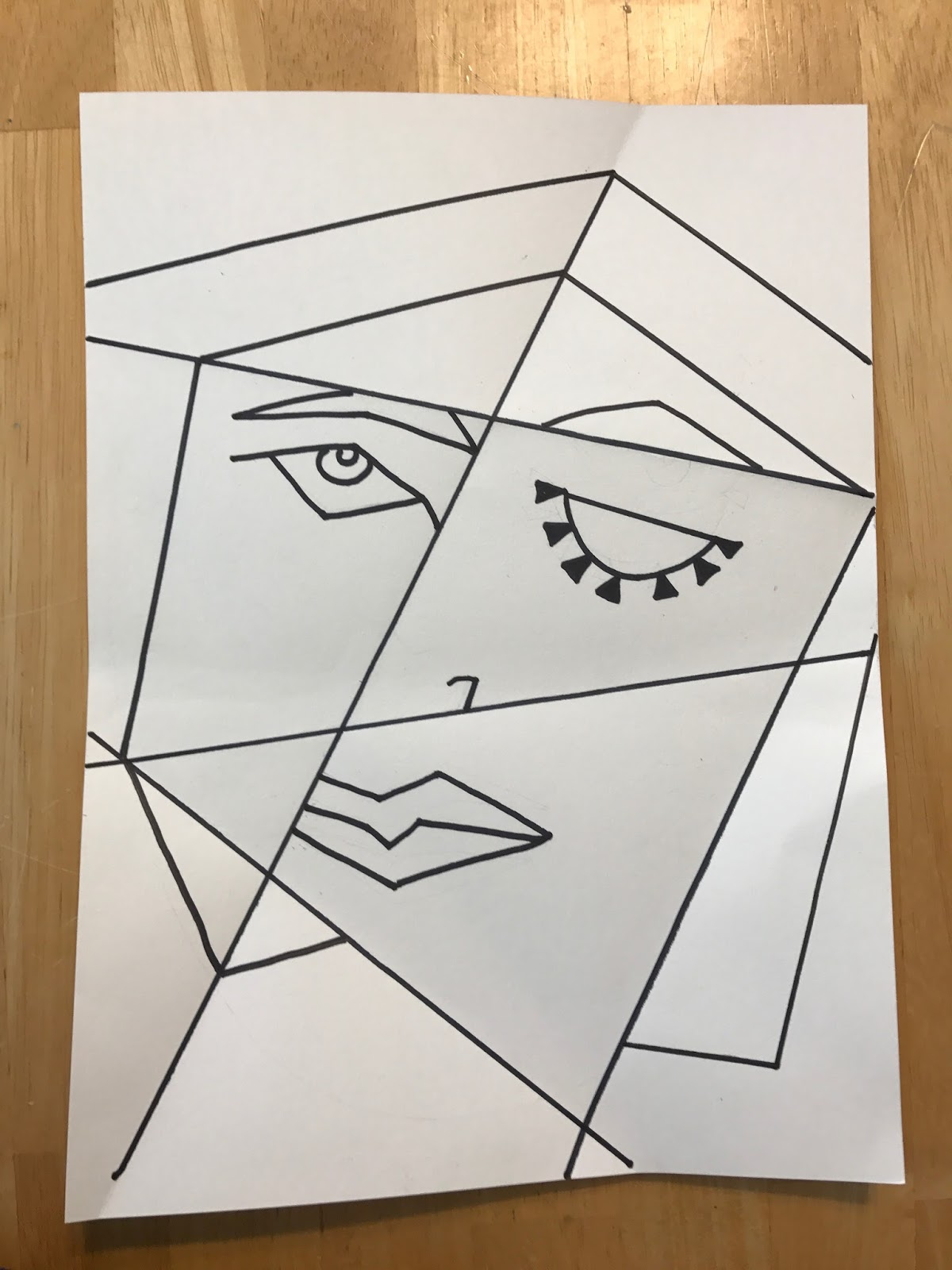 kathy 39 s art project ideas picasso portrait inspired art lesson using folded paper and watercolor. Black Bedroom Furniture Sets. Home Design Ideas