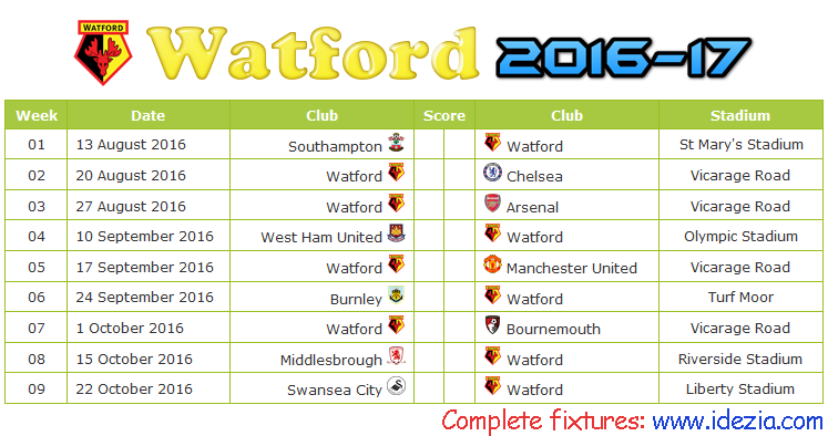 Download Jadwal Watford FC 2016-2017 File JPG - Download Kalender Lengkap Pertandingan Watford FC 2016-2017 File JPG - Download Watford FC Schedule Full Fixture File JPG - Schedule with Score Coloumn