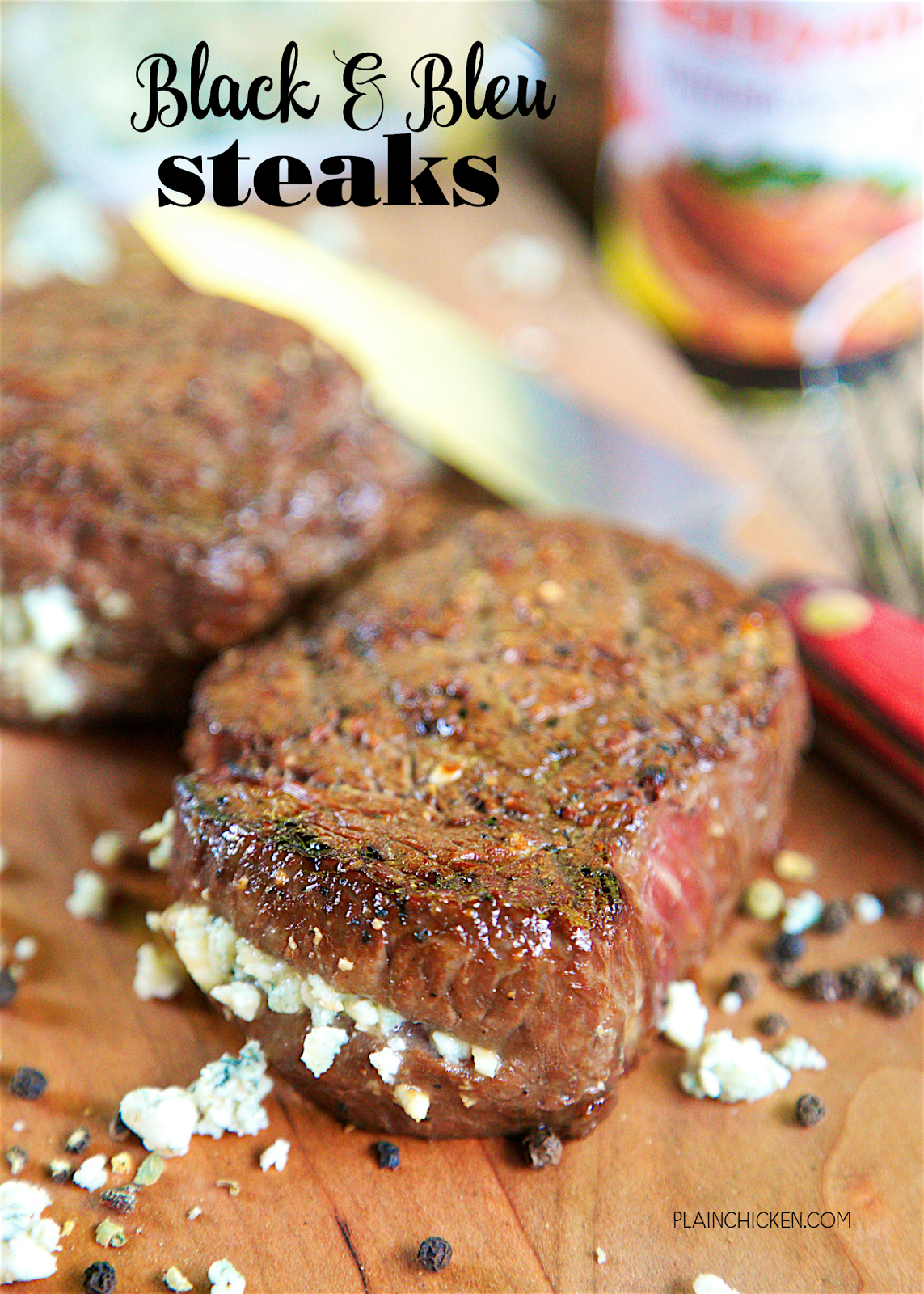 Black and Bleu Steaks - only 4 ingredients to the best steak you've ever eaten! Kikkoman Teriyaki Marinade & Sauce, Worcestershire sauce, black pepper and bleu cheese. Let the steaks marinate all day. Made these for a dinner party and everyone cleaned their plate. CRAZY good! Better than any steakhouse!
