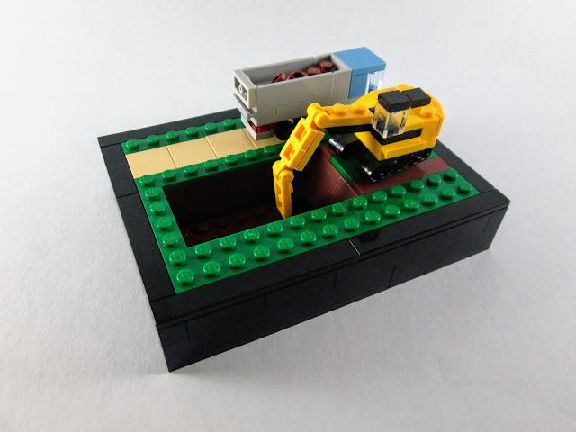 MOC LEGO micro escala Escavadora e camião