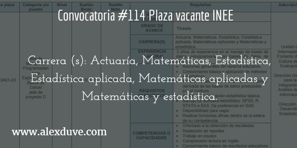 Convocatoria 114 para plaza vacante inee instituto Convocatoria para las plazas docentes 2016