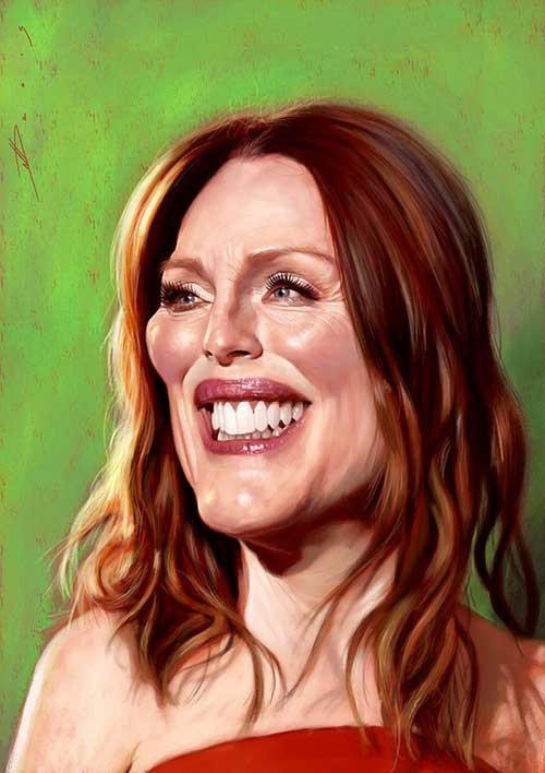 "Caricature of ""Julianne Moore"" by Neil Davies"