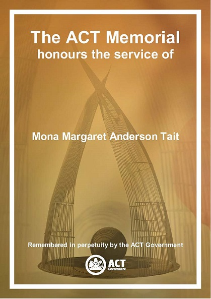 ACT  Memorial Certificate for Mona Margaret Anderson Tait