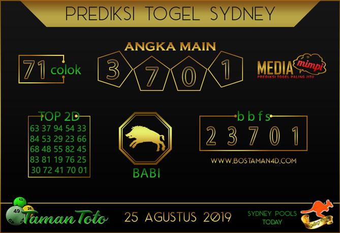 Prediksi Togel SYDNEY TAMAN TOTO 25 AGUSTUS 2019