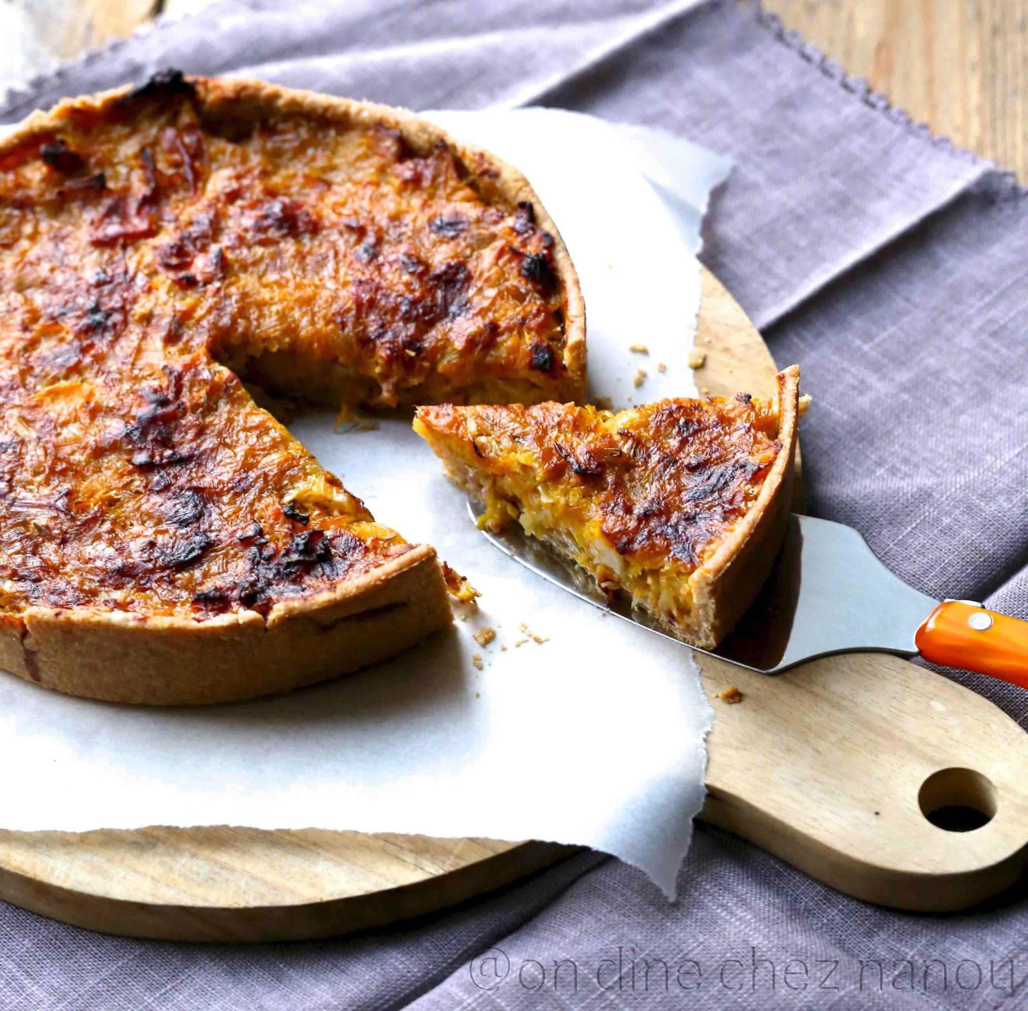 tarte salée d'automne , courge , poireaux, épeautre