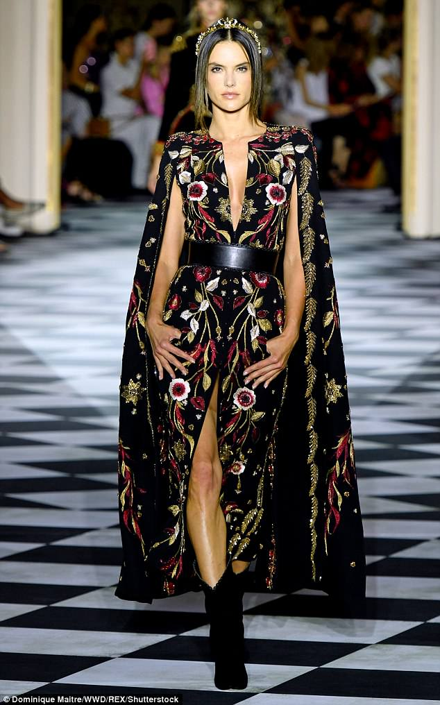 81e129a9c3a Alessandra Ambrosio flaunts cleavage at the Zuhair Murad Haute Couture Show
