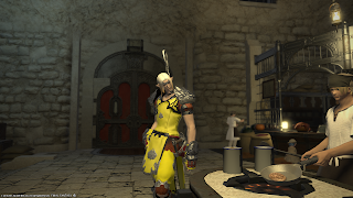 Monk observing cooking in kitchen in Final Fantasy 14.
