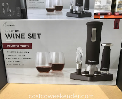 Easily pop open a bottle of wine with the Rabbit Rechargeable Wine Opener Set