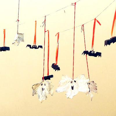 bricolage activité enfants facile fantomes chauves souris feuilles boite oeuf