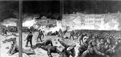 σκίτσο οι διεκδικήσεις της Πρωτομαγιάς  του 1886 που πνίγηκε στο αίμα στο Σικάγο.
