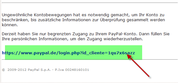 Paypal Phishing E.Mail