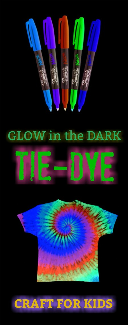 FUN KID CRAFT:  Make tie dye t-shirts that glow in the dark! (This is SO COOL!)