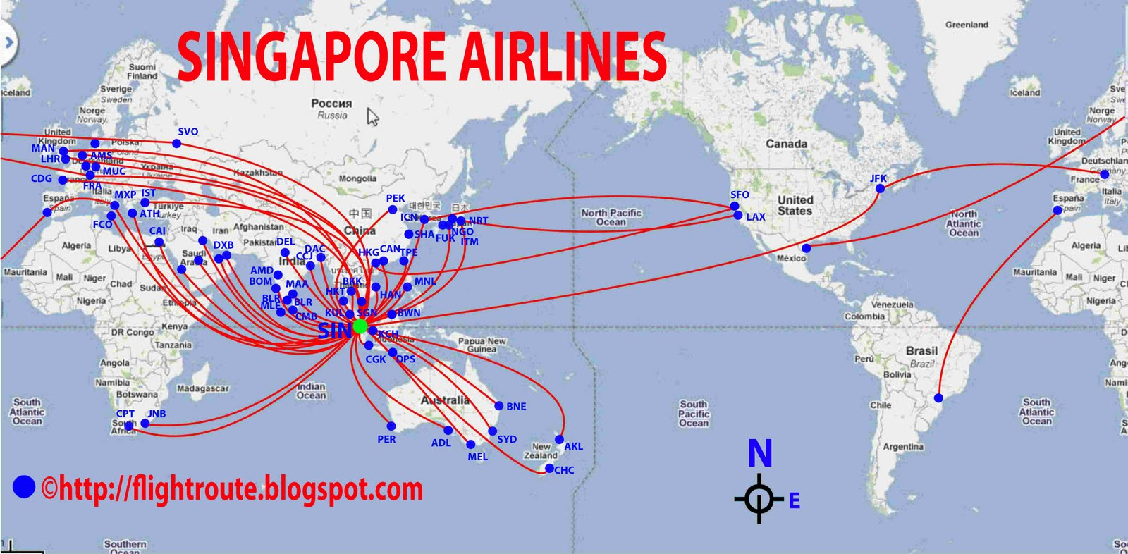 Airlines Singapore Airlines Routes Map