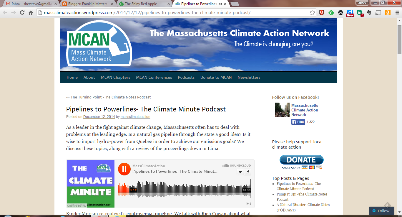 screen grab of MASS Climate Action webpage