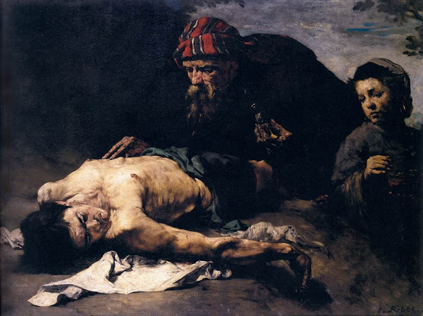 The good samaritan by Théodule-Augustin Ribot, Illustrated Bible Stories, Old Testament Stories, Religious art, Sacred art, Hebrew events