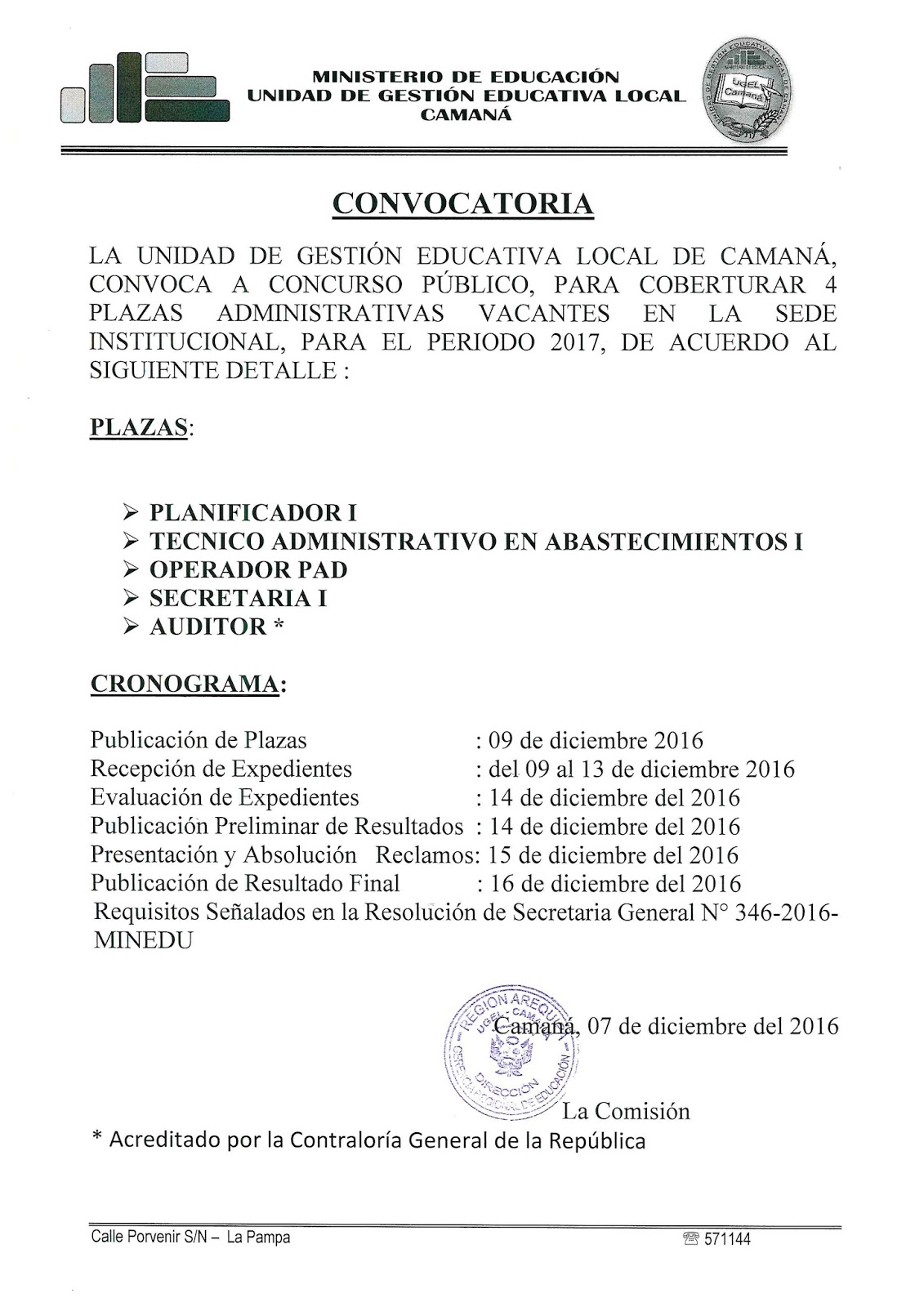 Convocatoria para plazas administrativas 2017 ugel for Convocatoria plazas docentes 2016