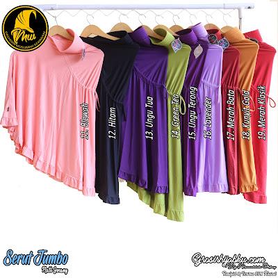 Jilbab serut belakang ukuran jumbo bahan jersey polos