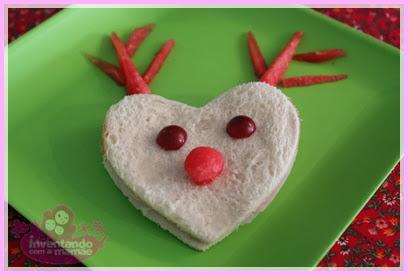Comida Divertida de Natal sanduíche de rena